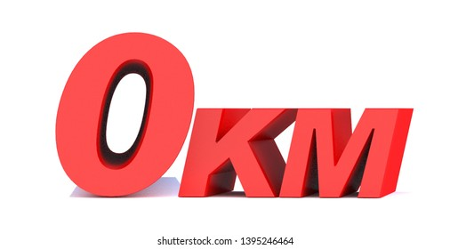 0 km. 0 kilometer word on white background. 3d illustration