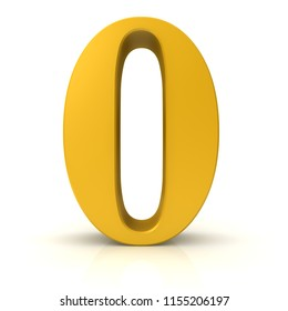 0 number zero null gold 3d rendering sign isolated