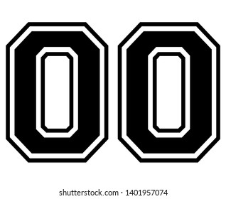 00 Classic Vintage Sport Jersey / Uniform numbers in black with a black outside contour line number on white background for American football, Baseball and Basketball