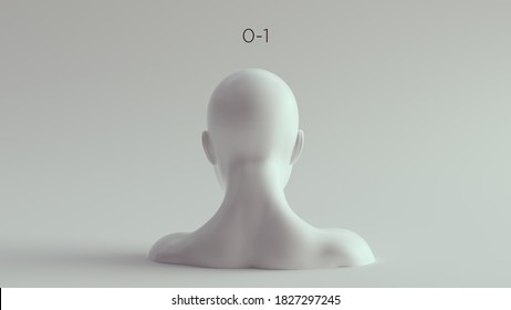 0-1 Binary Female Male White Bust Head and Shoulders Rear View 3d illustration