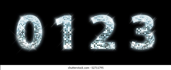 0,1,2,3 - font made from a disco ball