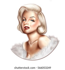 01/28/2017 - Digital portrait of Hollywood actress Marylin Monroe