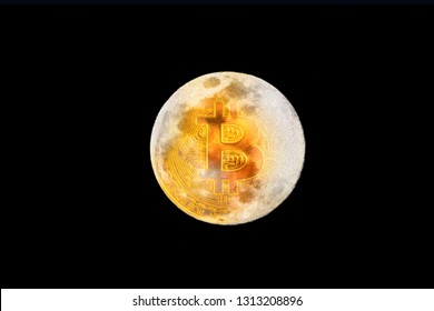 """02-14-2019: Visual based on the famous statement: """"Bitcoin to the moon!"""". Combination of a golden bitcoin and the moon on a dark night sky."""