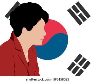 03 MAR, 2017 : Illustration of President of South Korea Park Geun-hye on South Korea flag