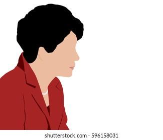 03 MAR, 2017 : Illustration of President of South Korea Park Geun-hye on isolated white background