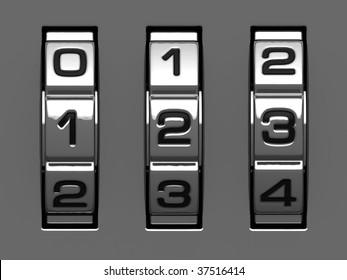 1, 2, 3 figures from combination lock alphabet