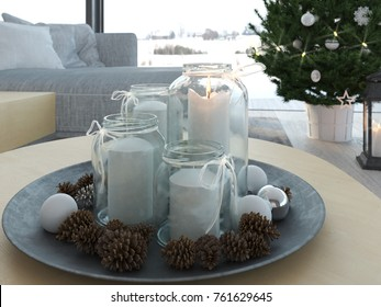 1. advent decoration in an christmas interior. 3d rendering
