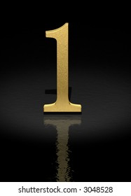 1 Gold Number on black background - 3d image
