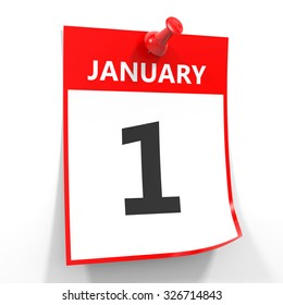1 january calendar sheet with red pin on white background. Illustration.