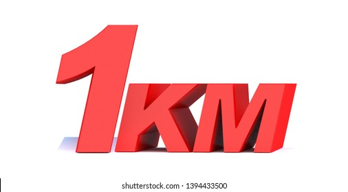 1 km. 1 kilometer word on white background. 3d illustration