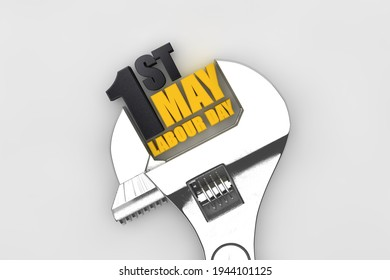 1 may labor day international worker's day. Wrench 3D render