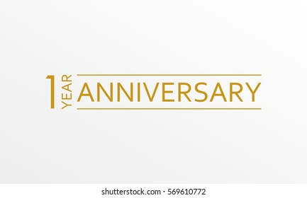 1 year anniversary emblem. Anniversary icon or label. 1 year celebration and congratulation design element.