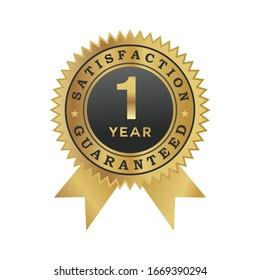 1 Year guaranteed satisfaction symbol gold color