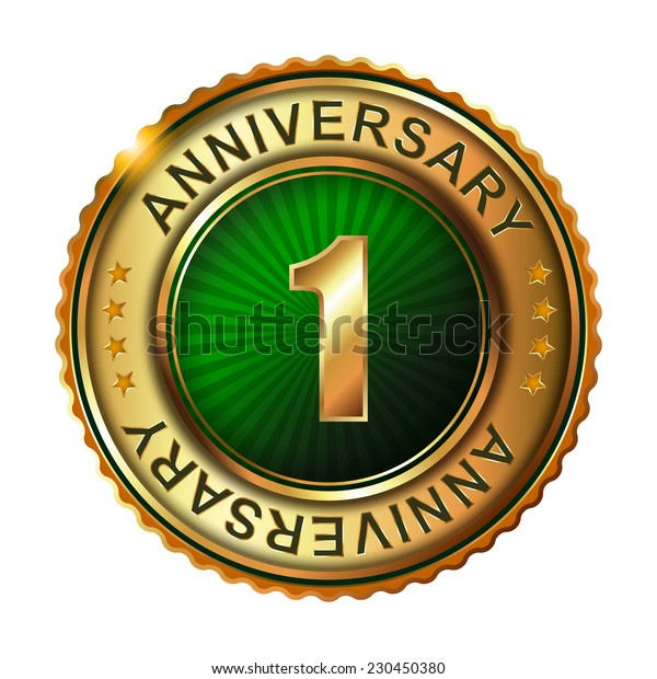 1 years anniversary golden label.