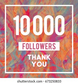 10 000 Followers Thank You Message to Followers in Vibrant Marble Texture
