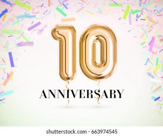 10 Anniversary celebration with Brilliant Gold balloons & colorful alive confetti. 3d Illustration design for your unique anniversary background,invitation,card,Celebration party the years anniversary
