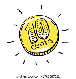 10 cents coin of very small amount of money. Gold Coin shining currency symbol. Best offer and super sale price creative concept. Illustration.