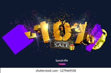 10% discount lettering explodes out of gift box for sale