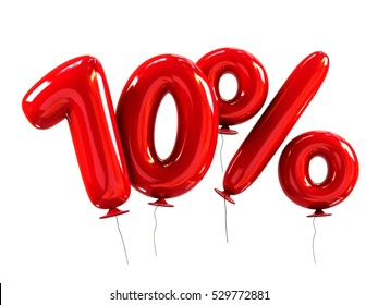 10% discount made of Red Balloons. sale concept. 3d rendering isolated on White Background