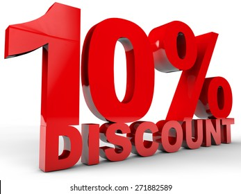 10% Discount over white background