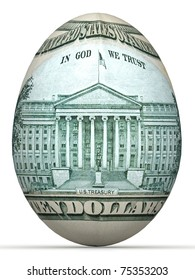 10 dollar back side banknote in shape of egg.