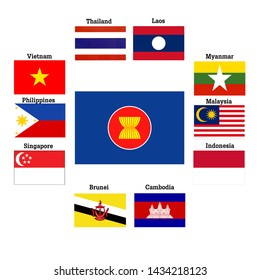 10 flags of ASEAN countries