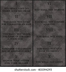 10 God commandments rules with English text