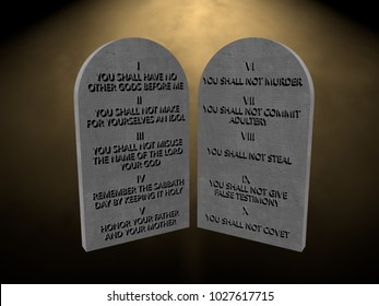 10 God commandments stones tablets lights rays 3d render rendering