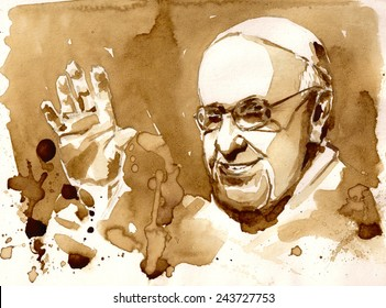 10 January, 2015:portrait of His Holiness Pope Francis.Picture created with coffee.
