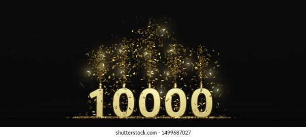 10 K followers thank you illustration dark background 3D rendering