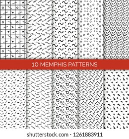 10 memphis seamless patterns collection, geometric figures and shapes, lines and triangles, circles and curves on raster illustration isolated on white