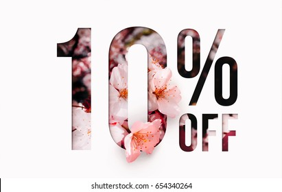 10% off discount promotion sale Brilliant poster, banner, ads. Precious Paper cut with real sakura flowers and leaves. For your unique selling poster / banner promotion offer percent discount ads.