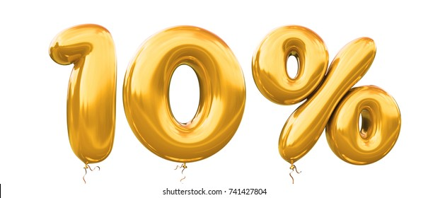 10% off discount promotion sale made of realistic 3d gold helium balloons. Illustration of balloon percent discount collection for your unique selling poster,banner ads ; Christmas, Xmas sale and more