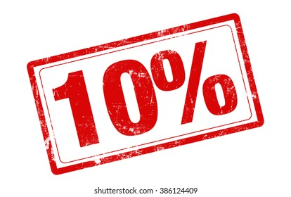 10% OFF red stamp text on white background