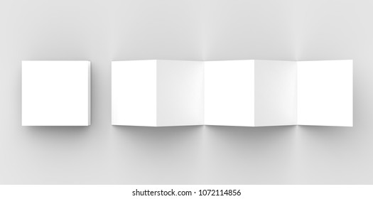 10 page leaflet, 5 panel accordion fold square brochure mock up isolated on light gray background. 3D illustrating