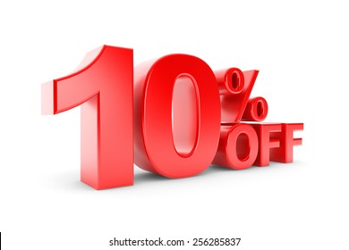 10 percent discount on a white background