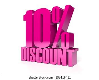 10 percent discount. Pink shiny text. Concept 3D illustration.