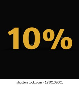 10 percent isolated on a black background