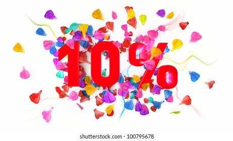 10 percent off on white isolated background full with colored petals
