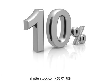 10 percents discount symbol with reflection isolated white background