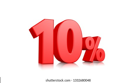 10% Red ten percent on a white background. 3d render illustration.