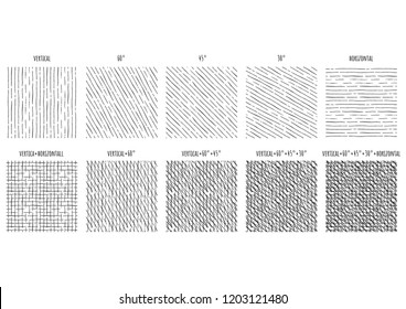 10 Seamless pattern of ink hand drawn linear hatching and crosshatching textures. Texture has 5 different angles: vertical, 30, 45 and 60 degrees, horizontal