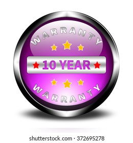 10 year warranty button isolated