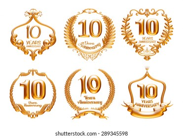 10 Years Anniversary golden label set with ribbon. 3D illustration.