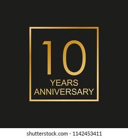 10 years anniversary logo. 10th anniversary celebration label. Design element or banner for birthday, invitation, wedding jubilee.