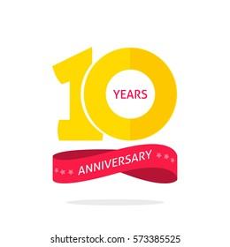 10 years anniversary logo template with a shadow on circle and number, 10th anniversary icon label, ten year birthday party symbol isolated on white background image