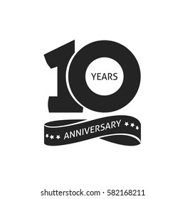 10 years anniversary pictogram icon, 10th year birthday logo label, black and white stamp isolated image