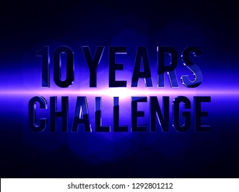 10 years challenge 3D render futuristic background with lens flare