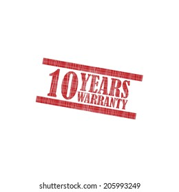 10 years warranty grunge rubber stamp on white background.