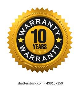 10 Years Warranty Sign. 3D rendering